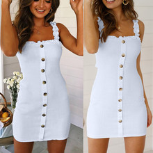 Sexy Womens Dress  Summer Party Strap Slip Ruffle Gingham Button Up A-Line Sleeveless Mini Dresses Womens Off Shoulder
