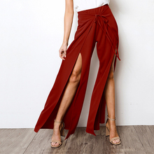 Summer Women Chiffon Pants Tights for Loose Solid Split Trousers Casual Baggy Boho High Waist Fashion Wide Leg H30