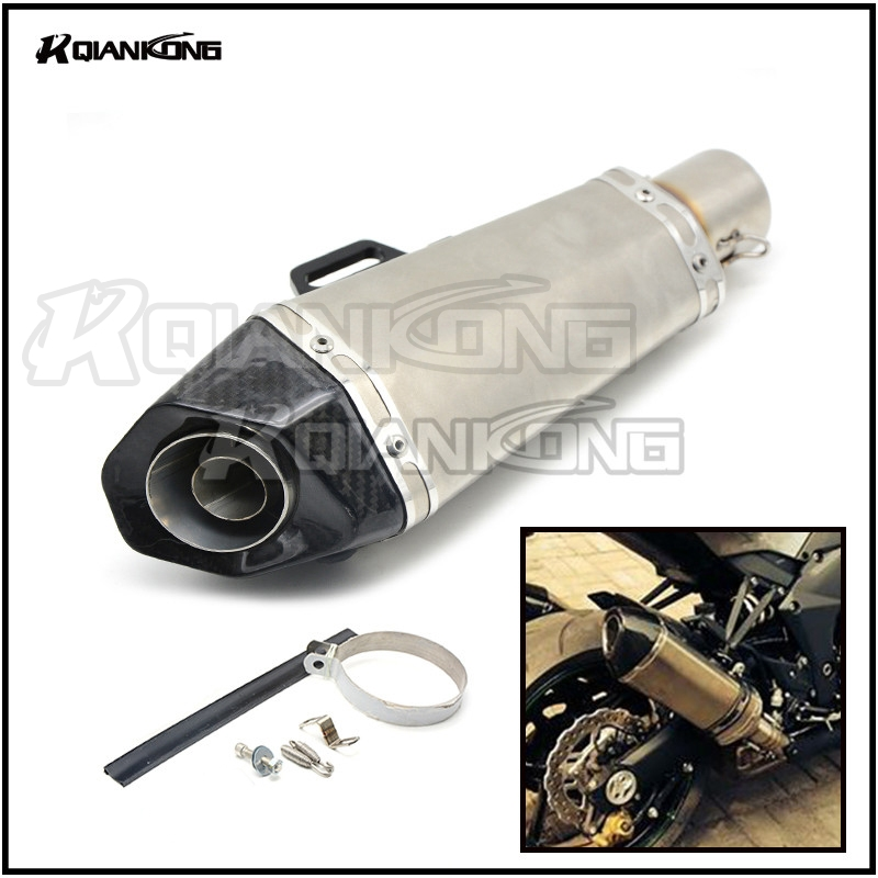 R QIANKONG Universal 36-51mm Modified Scooter Motor Exhaust Pipe Muffler For Yamaha 125 FZ07 09 FZ1 FZ8 FZ6R MT09 MT07 TMAX XMAX