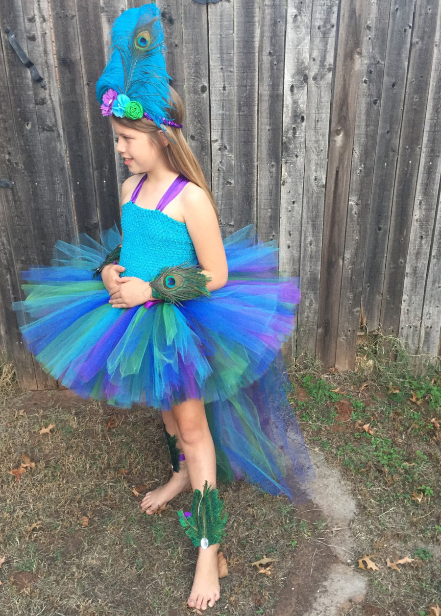 Peacock Tutu Dress For Girls Pageant Birthday Party Ball Gown Baby Girls Peacock Vestidos Children Purim Clothes Photo Props (4)