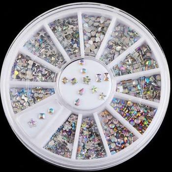 HOT SALE Design 3D DIY Bling AB Acrylic Nail Art Tips Rhinestones Glitter Manicure Wheel Decoration Nail Decorations
