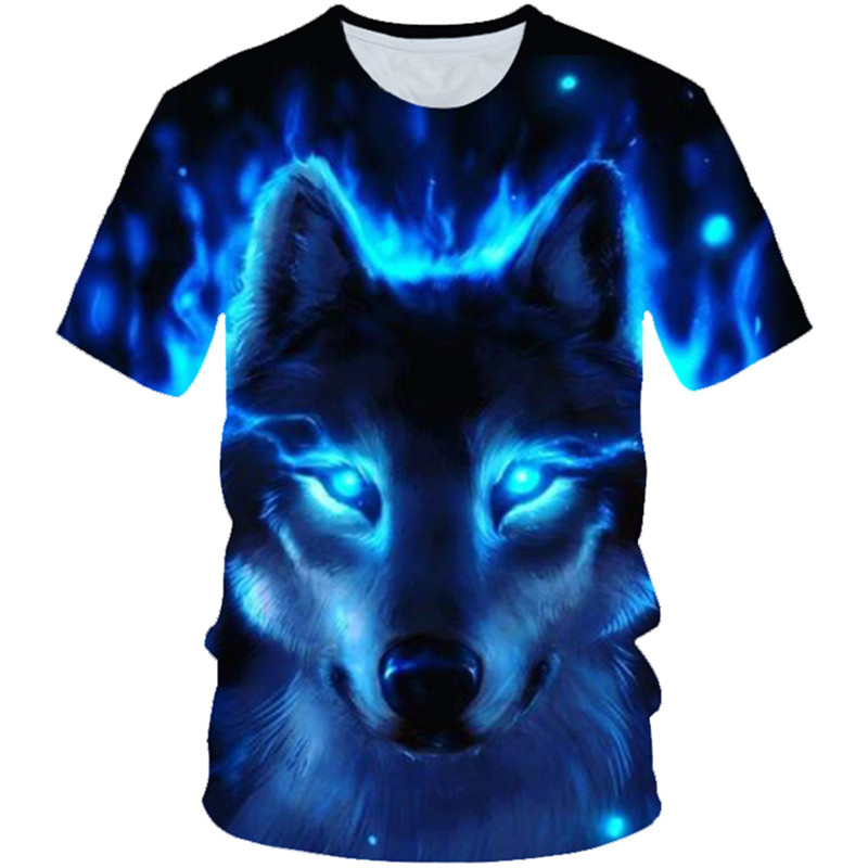 4-20 Years 2019 Summer Boys Girls Wolf Blue Fire 3D Print Animal Cool Funny T-shirt Kids Lovely T shirt Children Fashion Tshirts(China)