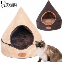 Hoopet Pet Dog Cat Tent Bed House Washable Dirt Resistant Soft Dog Chocolate House Cat Bed Kennel Double Sided Cushion