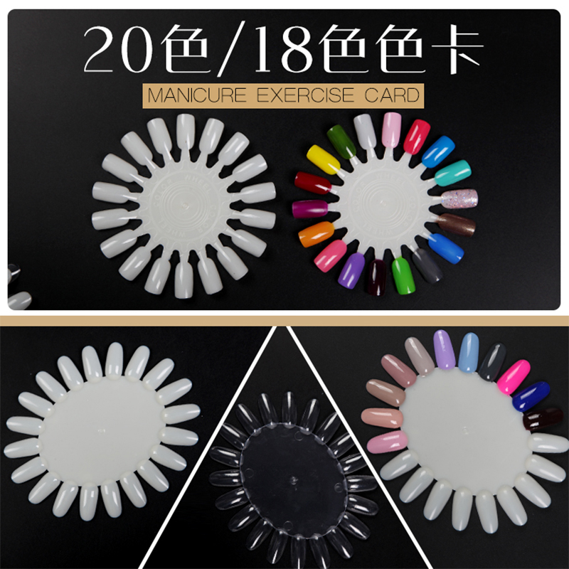 Nya 5st / set korta False Nail Art Tips Sticks Polska Display Fan Practice Tool Board Naglar Verktyg Makeup Natural Clear Full Cover