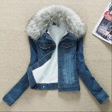 2017 Winter Fur Collar Denim Jackets Plus Velvet Warm Fur Collar Outerwear Women Cashmere Cotton Coat Girl Fashion Denim Jackets цена в Москве и Питере