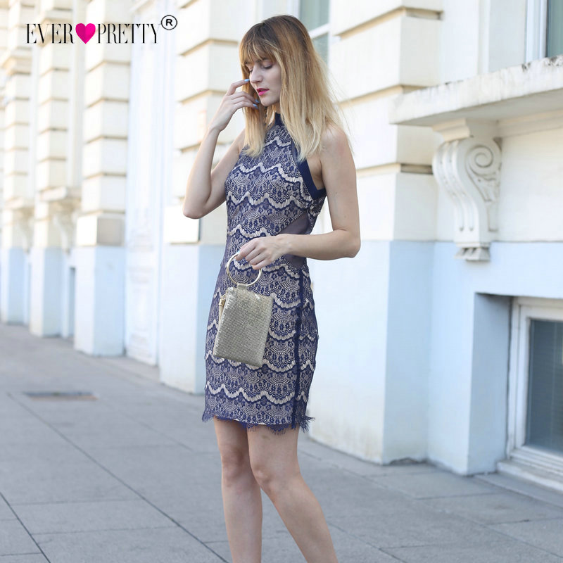 Ever Pretty New Fashion Lace Cocktail Dresses EP04072 Sexy Navy Blue Halter Off Shoulder Slim 2019 Party Gowns Bodycon Vestido