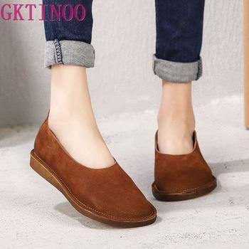 GKTINOO Original Spring and Summer 2019 New Women Shoes Genuine Leather Flat Sole Round Toe Soft Soles Retro Handmade Flats