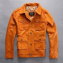2017 New Men Genuine Yellow Leather Jacket Pockets Real Sheepskin Plus Size XXXL Slim Fit Men Winter Casual Coat FREE SHIPPING
