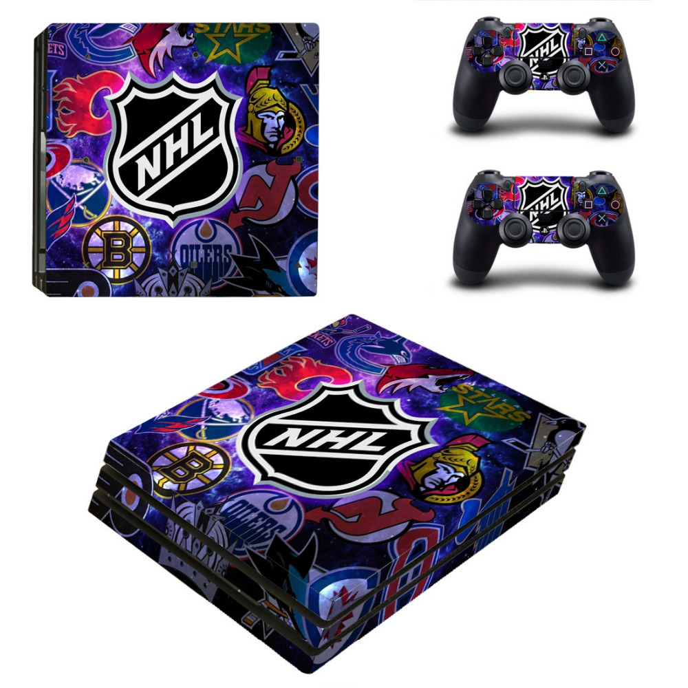 NHL Teams PS4 Pro Skin Sticker Decal For Sony PS4 PlayStation 4 Pro Console and 2 Controllers Skin Stickers