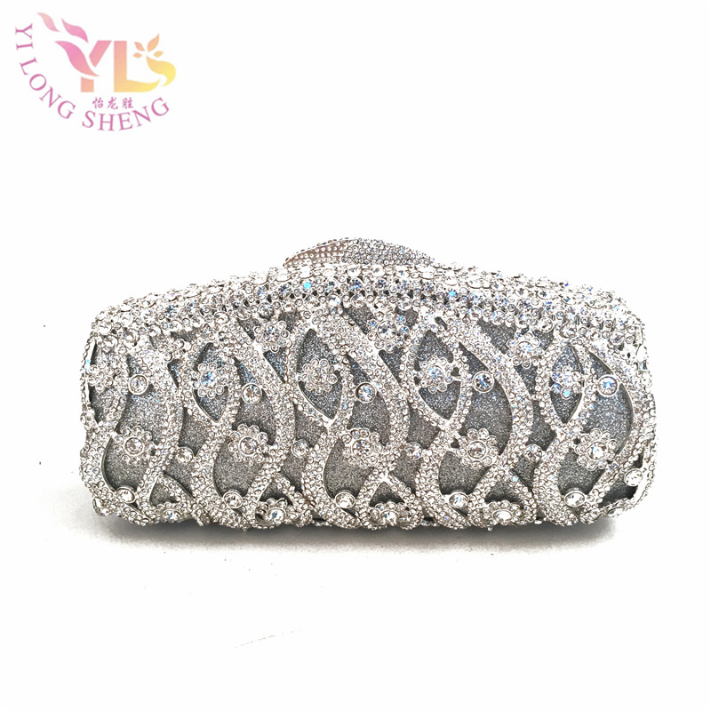 Silver Floral Crystal Women Evening Bag Silver Clutches Shoulder Handbags Crossbody Bags Hardcase Ladies Box Clutch Bag YLS-42 silver metal clutch bag with stone clutch evening bags women stylish and simple silver clutch bag yls how24