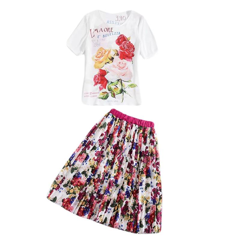 Et Multi Printemps T Élégante Vintage Robe Créateur 2019 Imprimé Ensemble Xf Mode Courtes Manches Fleur Femmes De shirt D'été xIwXpUP
