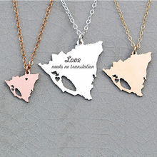 2018 New Arrival Personalized Nicaragua Country Silhouette Charm Necklace Cutout Jewelry Honeymoon Gift  YP6062