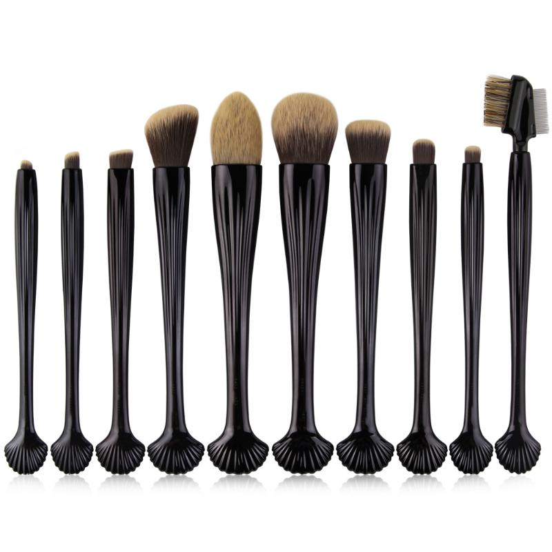 10Pcs/Set Black Seashell Handle Makeup Brushes Kit Foundation Blending Powder Contour Concealer Eye Shadow Eyebrow Brush Tool menu чаша black contour
