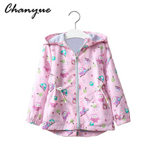 Chanyue Girls Jacket Cartoon Printed Hooded Windbreaker Baby Girl Coat 2017 Autumn Winter Kids Long sleeve Outerwear Clothes