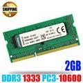DDR3 1333 PC3-10600/DDR 3 1333 МГц PC3 10600 non-ECC 204 контакты 1.5 В 2 ГБ SODIMM Модуль Памяти Ram Memoria для Ноутбука/ноутбук