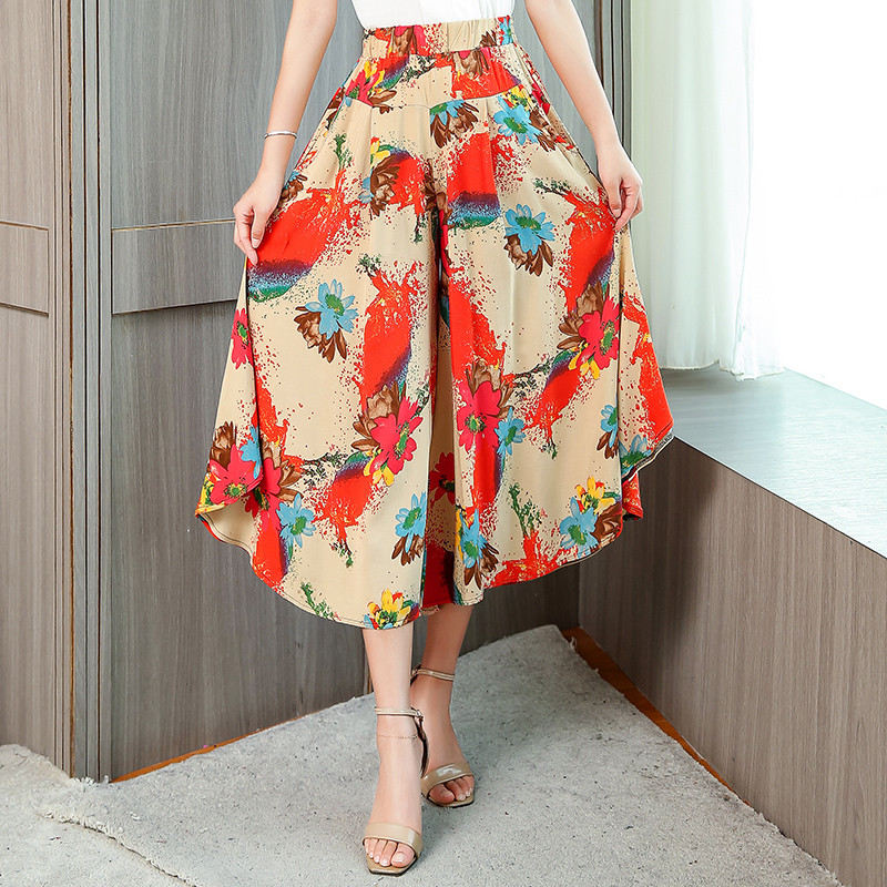 2019 New Summer Women Flowers Print Wide Leg Pants Plus Size Loose High Waist Skirt Pants Female Casual Ankle-Length Plaid Pants