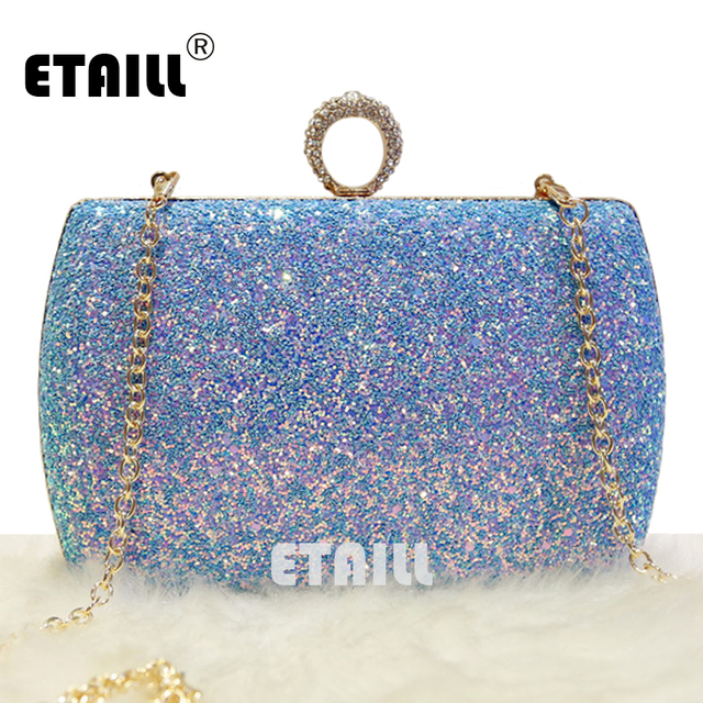 Etaill New Women Las Blue Glitter Sequins Handbag Sparkling Party Finger Ring Evening Envelope Clutch Bag