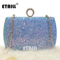 ETAILL New Women Ladies Blue Glitter Sequins Handbag Sparkling Party Finger Ring Evening Envelope Clutch Bag