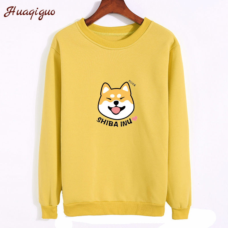 2017 Women Sweatshirt Autumn Lovely Anime Character Shiba Printed Hoodies Thickening Fleece Harajuku Winter Pullover