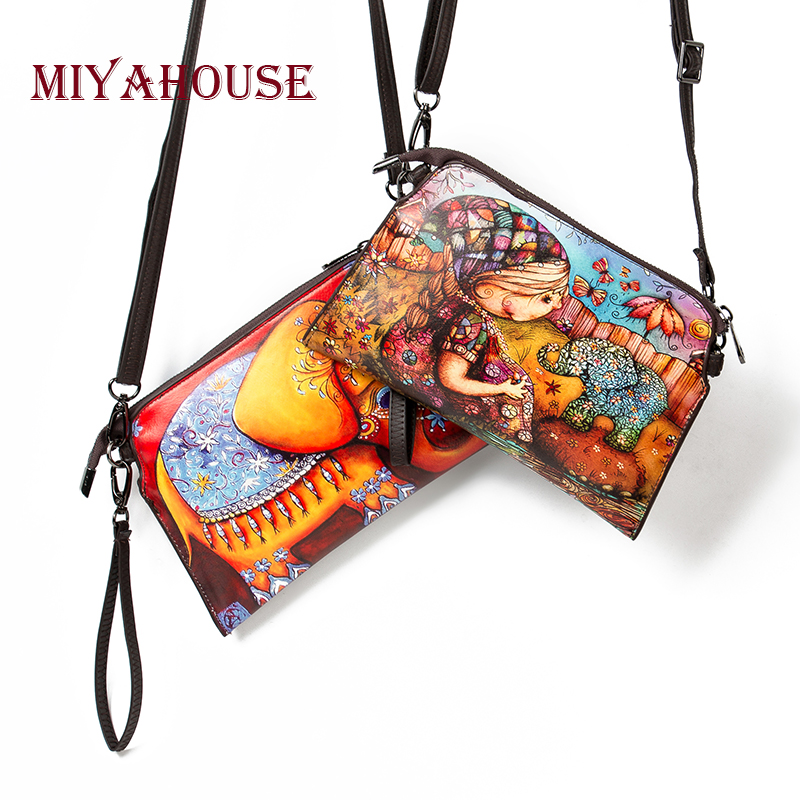Miyahouse High Quality Leather Crossbody Bag Ladies Colorful Small Shoulder Flap Bag Girls Casual Cartoon Print Women Clutch Bag miyahouse summer women messenger bags canvas leather cartoon owl printed crossbody shoulder bags small ladies flap bag casual