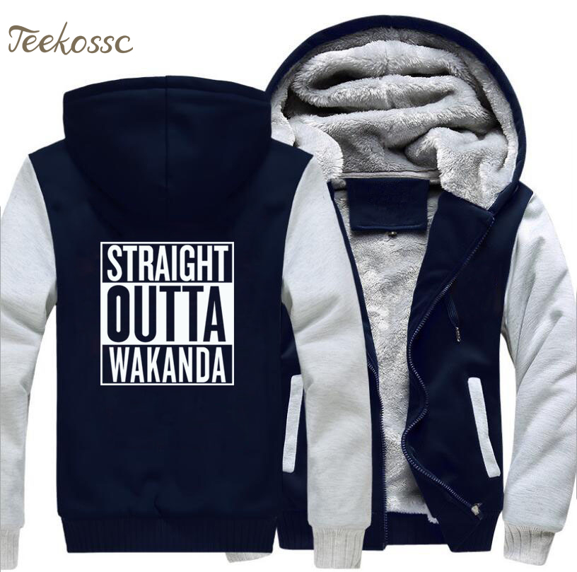 Straight Outta Wakanda Hoodie Men Black Panther Hooded Sweatshirt Coat 2018 Winter Fleece Thick Music Kpop Jacket Plus Size 5XL in Hoodies amp Sweatshirts from Men 39 s Clothing