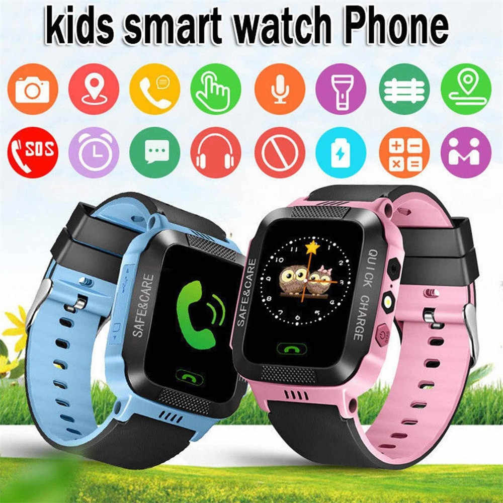 Smart Watch Child with GPS GSM Locator Touch Screen Tracker SOS Flashlight for Kids Family Phone Tracking