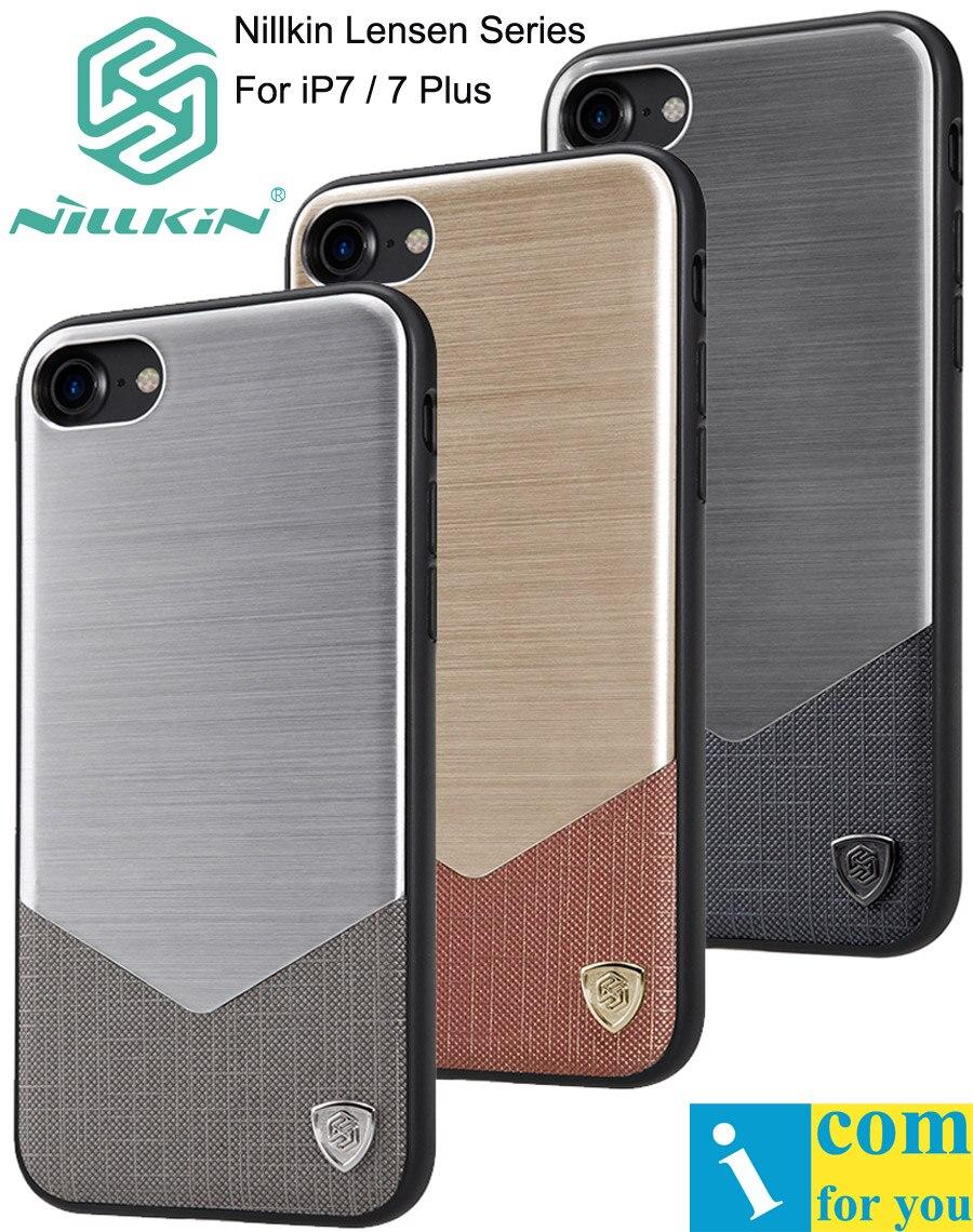 imágenes para Nillkin caso lensen para iphone 7 plus brushed metal de aluminio + cubierta de cuero para iphone 7 negocio de lujo