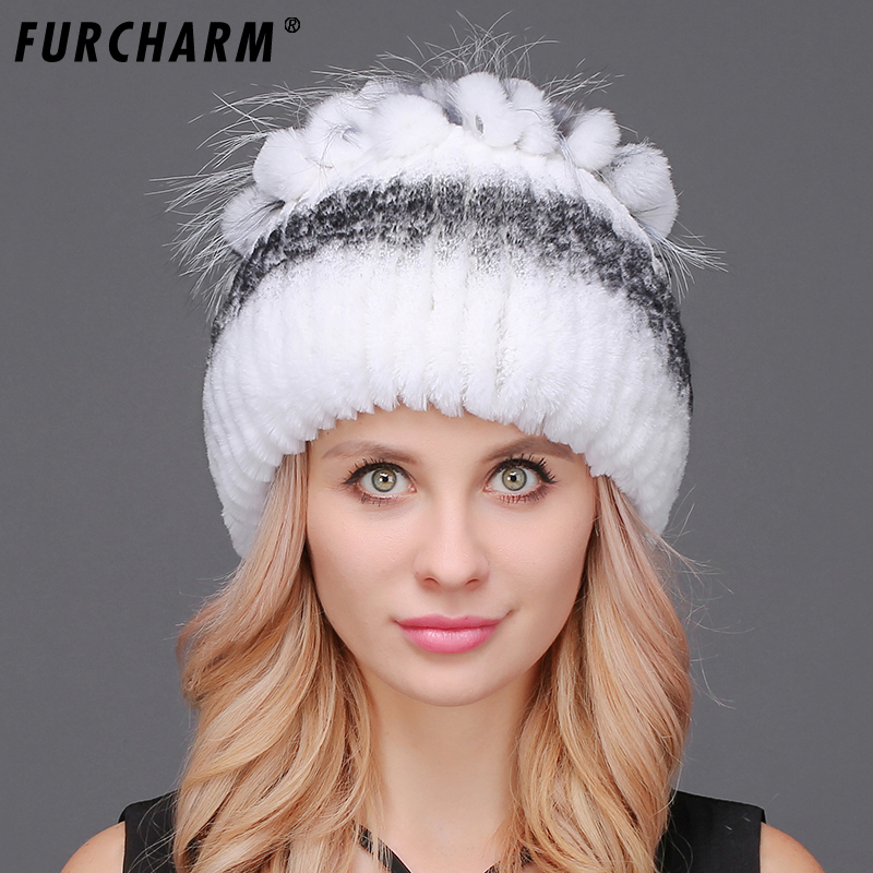 FURCHARM Natural Rex Rabbit Fur Hat Female Warm Women's Winter Hats With Silver Fox Fur Fashion Knitted Beanies Thick Hat Girl hat winter thick stickers letter knitted hat wool hat korean embroidery warm hats tide men and women
