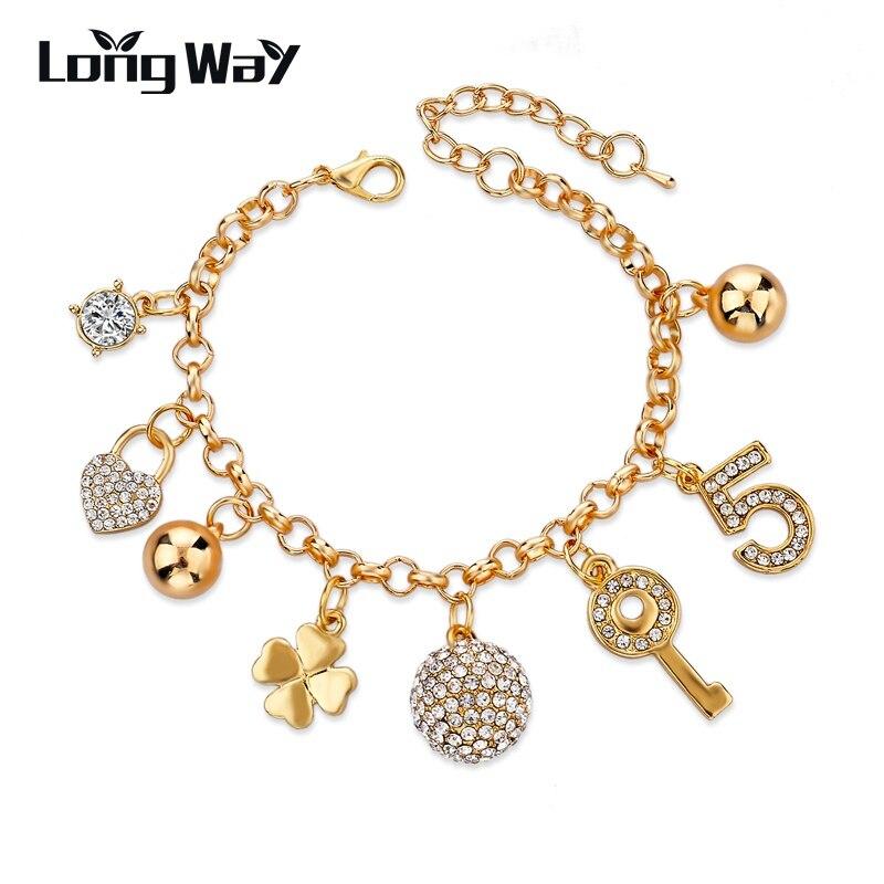 aaedbebe0ea1 LongWay de oro al por mayor Color lleno de pulseras del encanto para las  mujeres bola de cristal brazaletes de pulseras de enlace de cadena de  joyería de ...