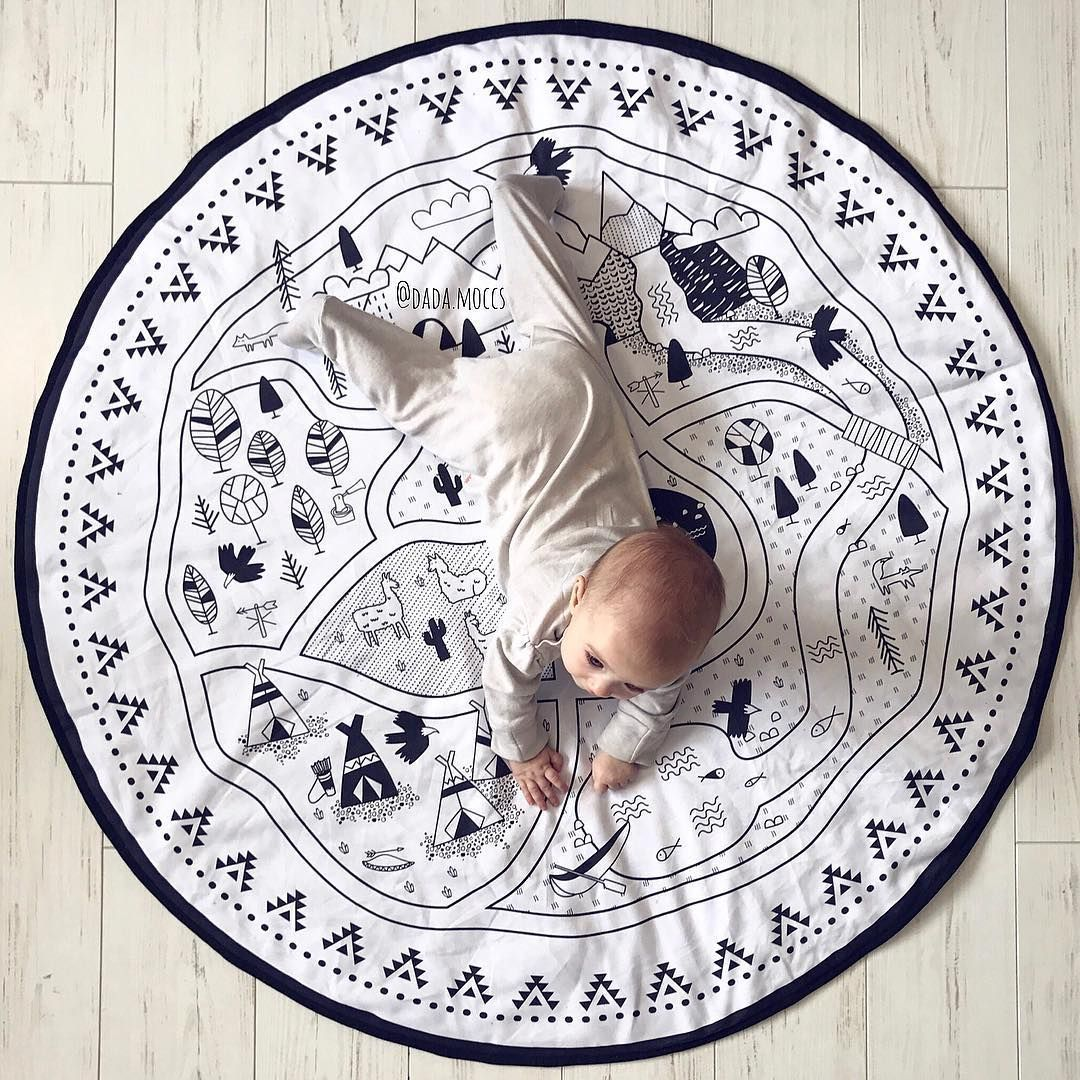 Intelligence Kids DIY Graffiti Toy Baby Room Decoration Play Mat Large Cartoon Round Newborn Baby Crawling Rug Carpet Blanket