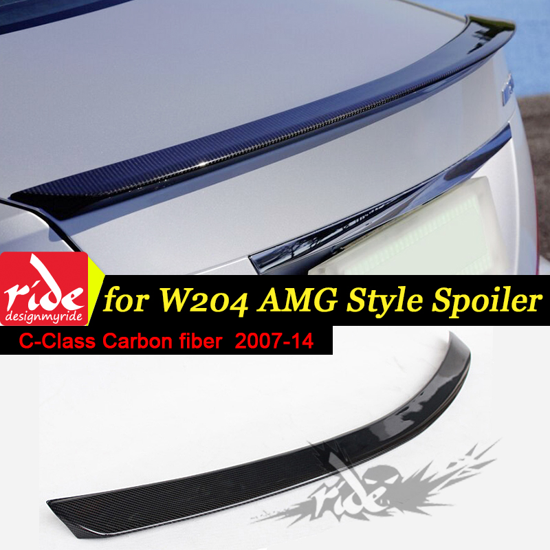 W204 4 Door Car Rear Trunk lip spoiler wing Carbon Fiber AEAMG Style For C Class