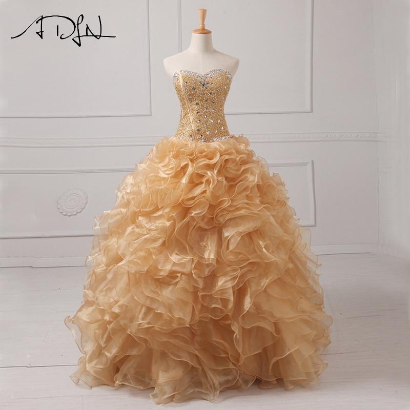 ADLN Real Photo Gold Quinceanera Dresses  Organza Sweetheart Sleeveless Beaded Ruffles Masquerade Dress Sweet 16 Dress