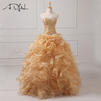 ADLN Real Photo Gold Quinceanera Dresses Organza Sweetheart Sleeveless Beaded Ruffles Masquerade Dress Sweet 16 Dress