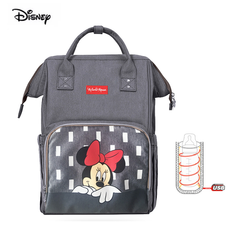 Disney Minnie New Mommy Bag Waterproof Multifunction Large Capacity Wave Point Backpack Fashion Mickey Mouse Baby