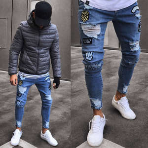 Men Pants Trousers Biker Skinny Ripped Straight New-Fashion Jean Slim Stylish Denim Frayed