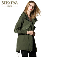 SIPAIYA 2017 Fashion New Thin Trench Coats Autumn Hooded Trench Womens High Quality Classical B Brand