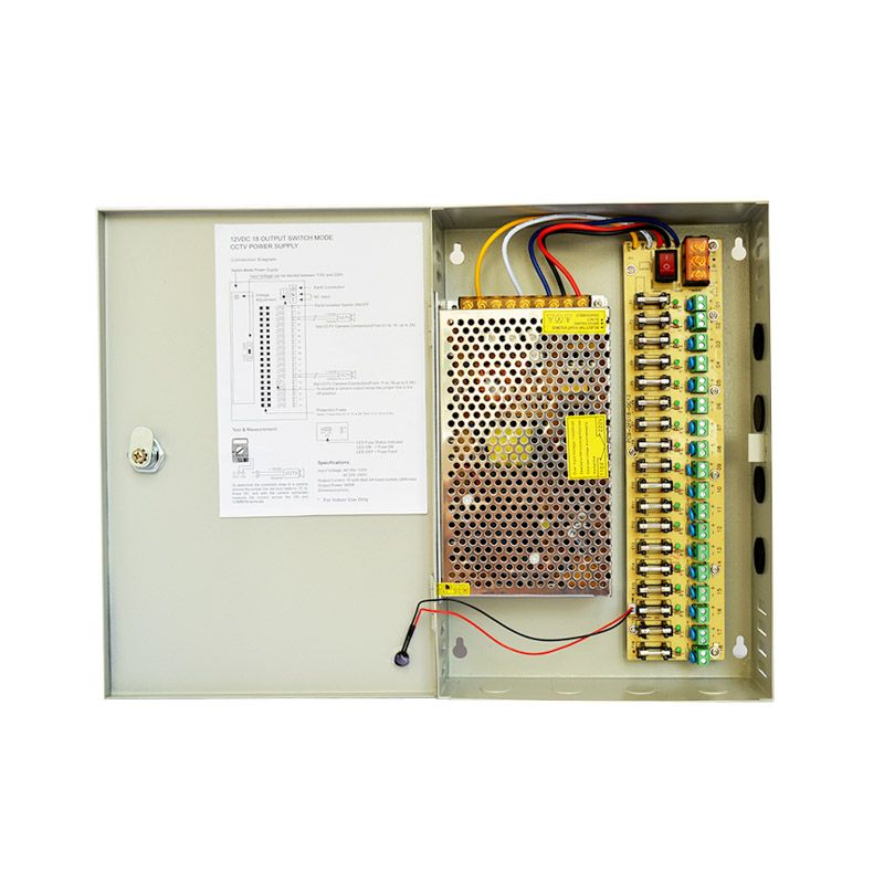 ФОТО 18CH DC 12V 20A Distribution Box Power Supply for CCTV Security Camera