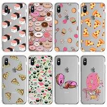 Ottwn Lustige Cartoon Pizza Food Print Fällen Abdeckung Für iPhone X XS XR Xs Max 5 5 s SE 6 6 s 7 8 Plus Transparent Weichen TPU Rückseitige Abdeckung