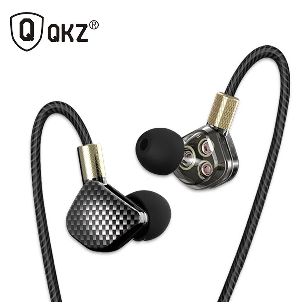 Original Earphone QKZ KD6 3 Dynamic Driver System Speakers HIFI Bass Subwoofer In Ear Earphone Stereo Sports Earphone Headset 3 5mm plug stereo in ear earphone blue 118cm