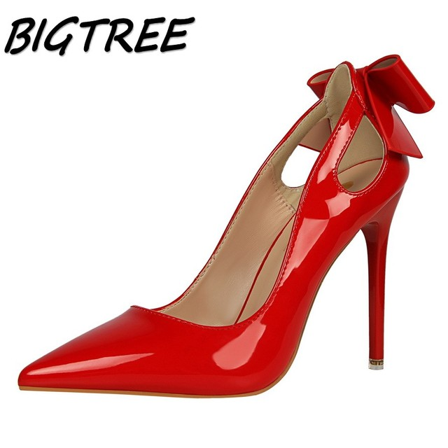 13a092c13bf US $16.93 49% OFF|BIGTREE summer women Pointed Toe High heel shoes woman  shallow pumps ladies butterfly knot hollow out Thin Heels single shoes-in  ...