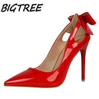 BIGTREE Summer Women Pointed Toe High Heel Shoes Woman Shallow Pumps Ladies Butterfly Knot Hollow Out