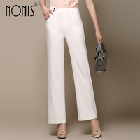 Nonis 2017 Summer Women Wide Leg Pants Femme Cotton Trousers Pantalon Capris Plus Size S 3Xl