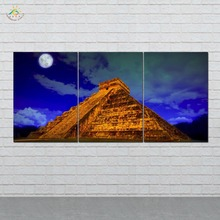 Pyramid at Night Picture And Poster Canvas Painting Modern Wall Art Print Pop Pictures For Living Room 3 PIECES