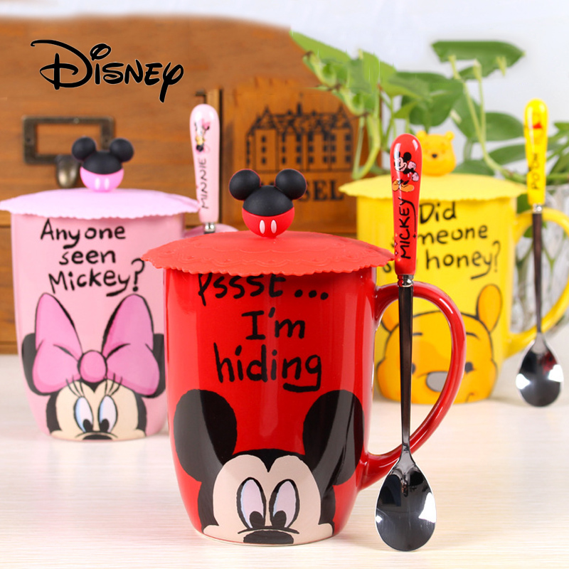 2019 Disney 500ML Cartoon Mickey Mouse Women Men Ceramics Cups Dual-use Office Mugs Portable Children's Pupils Cup Home Gifts