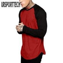 URSPORTTECH Brand Fashion Mens Long Sleeve T-shirt Autumn Winter Casual Vintage Patchwork Top Blouse Cotton Homme tshirt S-4XL