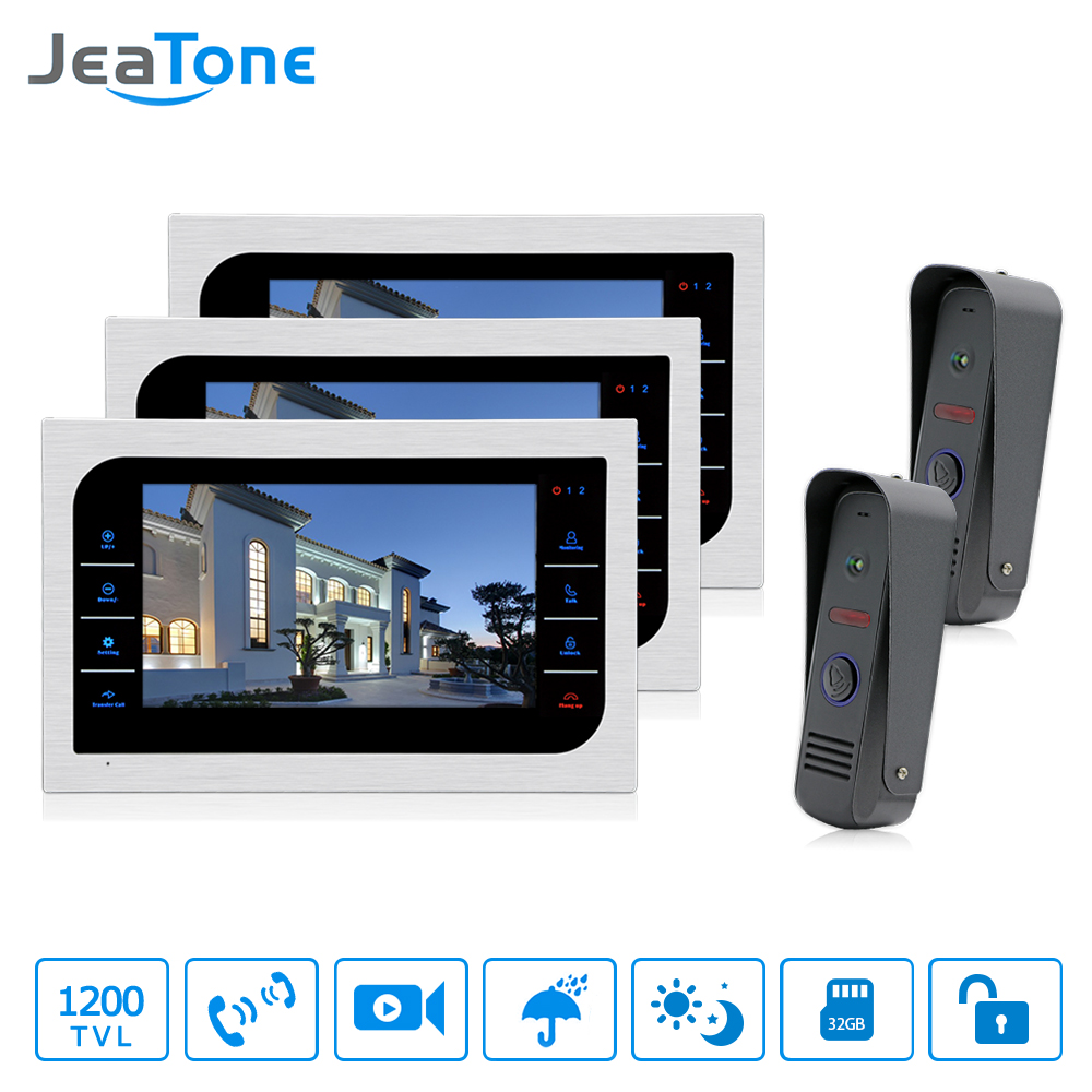 JeaTone Video Door Phone Wired Intercom 2pcs Pinhole Cameras + 3pcs 10'' LCD Monitor PIR Motion Detection Night Vision System jeatone 10 hd wired video doorphone intercom kit 3 silver monitor doorbell with 2 ir night vision 2 8mm lens outdoor cameras