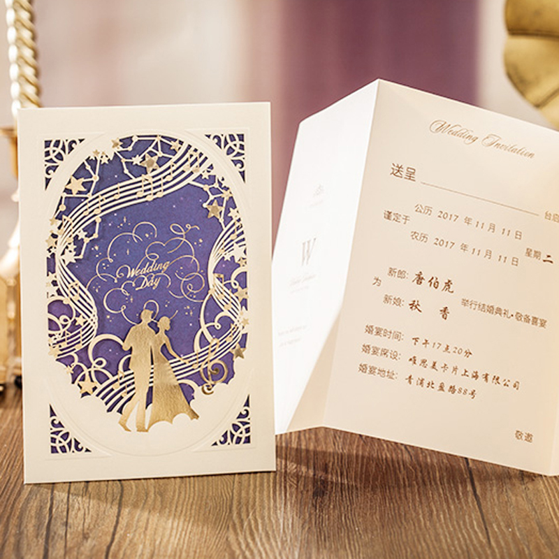 50 Pieces Lot Luxurious Wedding Invitation Card With Musical Notation Gold And Navy Blue Marriage Cards Cw7030 In Invitations From Home