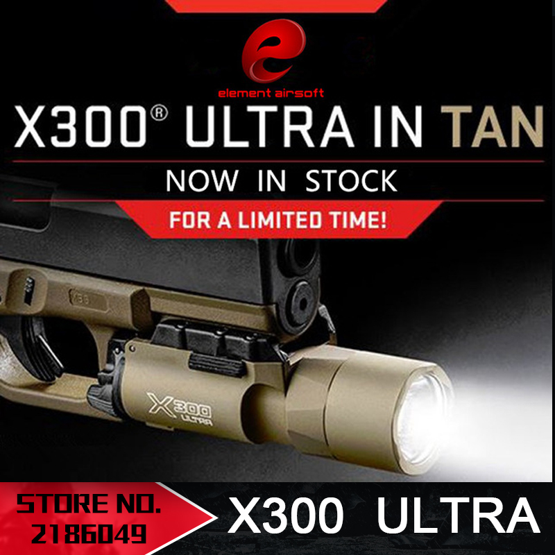 Element Airsoft Surefir X300 Ultra Weapon Flashlight Pistolet lanterna Airsoft X300U Fashlight 370 lumenów z szyną Picatinny EX359