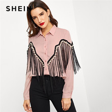 cc68f6fe6c00d SHEIN Pink Contrast Fringe Embellished Curved Hem Blouse Elegant Pearls  Button Beaded Blouses Women Autumn Workwear Shirt Tops