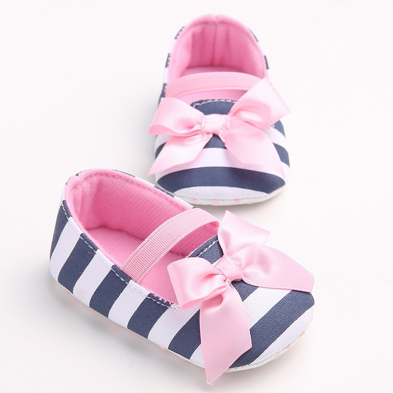 Born Baby Girls Crib Striped Soft Soled Anti-Slip Shoes Shoes For Toddler Girls New Princess Big Bow Prewalkers Shoes